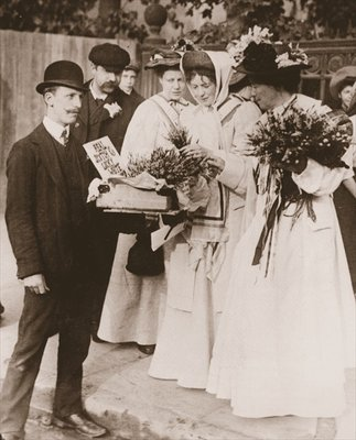 Christabel Pankhurst and Emmeline Pethick Lawrence purchasing Scottish heather for the release of Mary Philips, 18th September, 1908 Fine Art Print by English Photographer