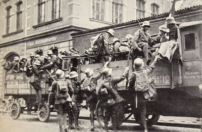 SA troops climbing into trucks, c.1926, from 'Geschichte der SA' by Wilhelm Rehm, pub. by Franz Eher Nachf, 1938 Fine Art Print by German Photographer