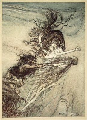 The Rhinemaidens teasing Alberich, illustration from 'The Rhinegold and the Valkyrie', 1910 Fine Art Print by Arthur Rackham