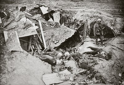 A German machine-gun emplacement smashed up by our artillery, 1916 Fine Art Print by English Photographer