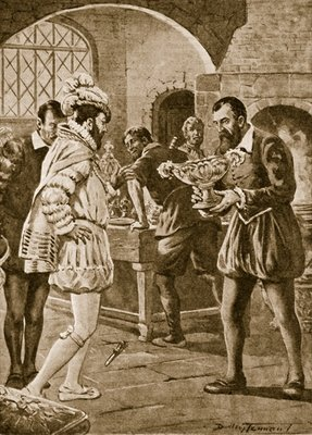 Francis I visiting Benvenuto Cellini in his workshop Poster Art Print by Dudley C. Tennant