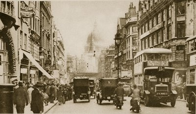 Fleet Street in 1926 Wall Art & Canvas Prints by English Photographer