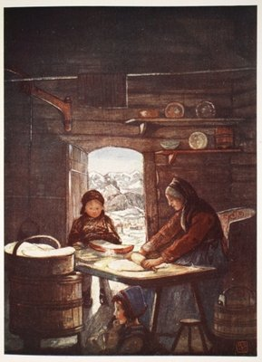 "Making ""Flad-Brod"": a cottage interior, 1905 Fine Art Print by Nico Jungman"