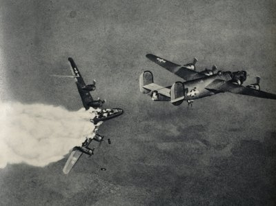 An American Liberator bomber is hit above Germany, 1942-45 Fine Art Print by American Photographer