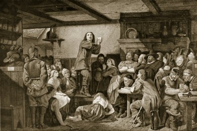 George Fox preaching in a tavern, c.1650 Fine Art Print by Edward Henry Wehnert