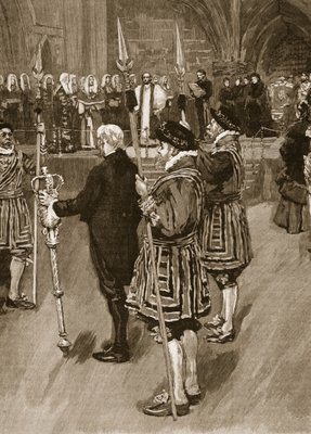 The Queen opening the Royal Palace of Justice, 1882, illustration from 'Cassell's Illustrated History of England' Fine Art Print by English School