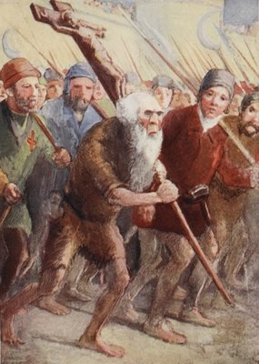 Peter the Hermit setting out before the army was ready with his followers and Walter the Penniless Fine Art Print by English School