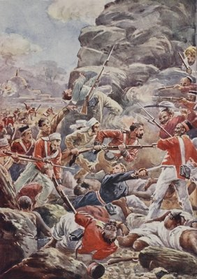 The stormers dashed over the debris of the breach, illustration from 'Battles of the Nineteenth Century' by Archibald Forbes, G.A. Henty and Major Arthur Griffiths Fine Art Print by English School