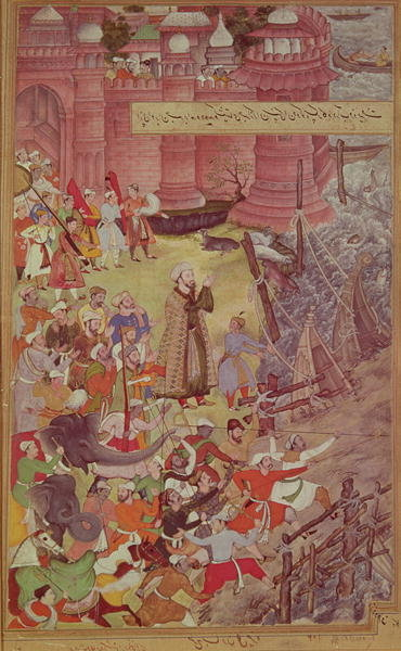 A Bridge of boats broken by Akbar Poster Art Print by Mughal School