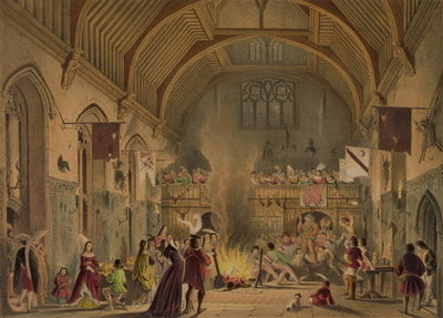 Banquet in the baronial hall, Penshurst Place, Kent, from 'Architecture in the Middle Ages', 1838 Postcards, Greetings Cards, Art Prints, Canvas, Framed Pictures, T-shirts & Wall Art by Joseph Nash