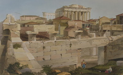 View of the Parthenon from the Propylaea, plate 7 from Part 2 of 'Views in Greece', engraved by J. Bailey, 1819 Fine Art Print by Edward Dodwell