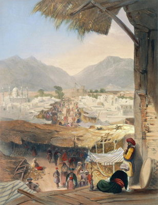 City of Kandahar, its Principal Bazaar and Citadel, Taken from the Nakarra Khauneh, or Royal Band Room, plate 28 from 'Scenery, Inhabitants and Costumes of Afghanistan', engraved by Robert Carrick Postcards, Greetings Cards, Art Prints, Canvas, Framed Pictures, T-shirts & Wall Art by James Rattray