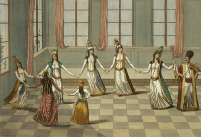 Dance that is fashionable with the Greek women of Constantinople, led by the woman holding a handkerchief, engraved by Ignazio Colombo, c.1816 Fine Art Print by Giacomo Leonardis