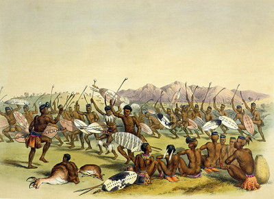 Zulu Hunting Dance near the Engooi Mountains, plate 14 from 'The Kafirs Illustrated', 1849 Fine Art Print by George French Angas