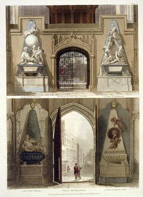 The Entrance into the Choir and the West Entrance, plate 20 from 'Westminster Abbey', engraved by J. Bluck Fine Art Print by Thomas Uwins