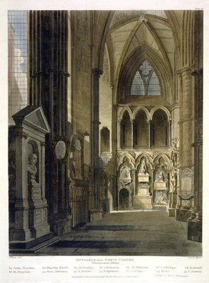 Entrance into Poet's Corner, plate 26 from 'Westminster Abbey', engraved by J. Bluck Fine Art Print by Augustus Charles Pugin