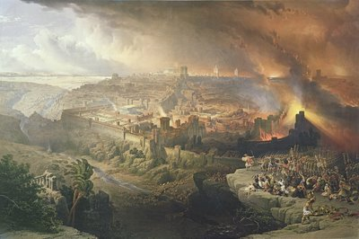 The Destruction of Jerusalem in 70 AD, engraved by Louis Haghe Fine Art Print by David Roberts