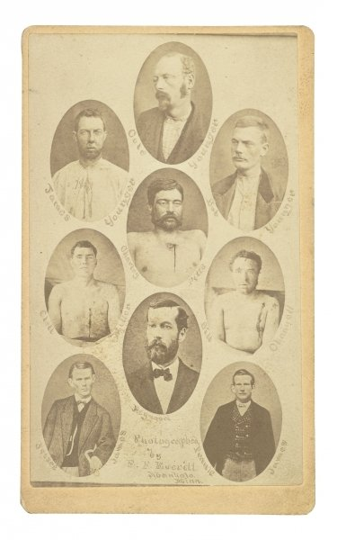 Composite carte-de-visite of eight members of the James-Younger gang, with their final victim, 1876 Wall Art & Canvas Prints by Elias Foster Everitt