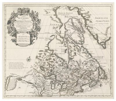 Map of Canada or New France, published by Johannes Covens and Cornelius Mortier, c.1730 Postcards, Greetings Cards, Art Prints, Canvas, Framed Pictures, T-shirts & Wall Art by Guillaume Delisle