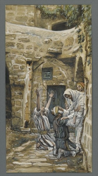The Blind of Capernaum, illustration from 'The Life of Our Lord Jesus Christ' Poster Art Print by James Jacques Joseph Tissot