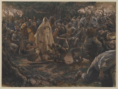 The Guards Falling Backwards, illustration from 'The Life of Our Lord Jesus Christ', 1886-94 (w/c over graphite on paper) Fine Art Print by James Jacques Joseph Tissot