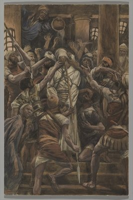 Maltreatments in the House of Caiaphas, illustration from 'The Life of Our Lord Jesus Christ', 1886-94 Fine Art Print by James Jacques Joseph Tissot