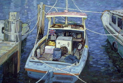 Old Fishing Launch at the Wharf, 1988 Fine Art Print by Ted Blackall
