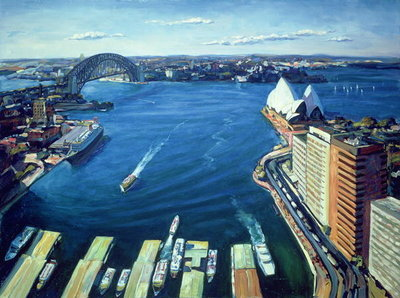 Sydney Harbour, PM, 1995 (oil on canvas) Wall Art & Canvas Prints by Ted Blackall