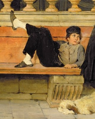 St. Mark's, Venice, detail of a boy smoking Wall Art & Canvas Prints by Adolf Echtler