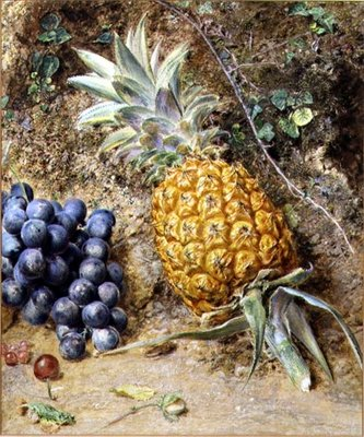 Grapes and a Pineapple Fine Art Print by William Henry Hunt