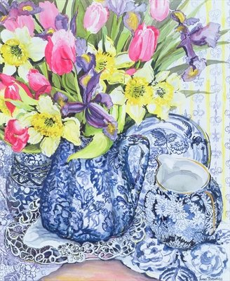 Daffodils, Tulips and Irises with Blue Antique Pots (w/c) Fine Art Print by Joan Thewsey