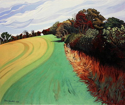 Little Solsbury Hill, Bath, 1994 (acrylic on canvas) Wall Art & Canvas Prints by Anna Teasdale