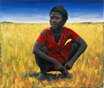 Girl in Red, 1992 (oil on canvas) Fine Art Print by Tilly Willis