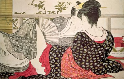 Lovers from the 'Poem of the Pillow', Postcards, Greetings Cards, Art Prints, Canvas, Framed Pictures, T-shirts & Wall Art by Kitagawa Utamaro