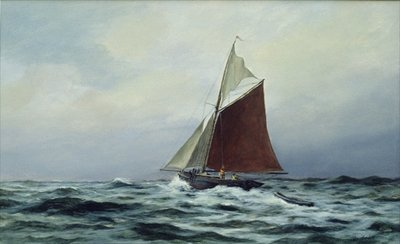 Making sail after a blow, 1983 Fine Art Print by Vic Trevett