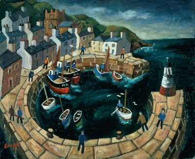 Brittany Harbour (oil on board) Wall Art & Canvas Prints by William Cooper