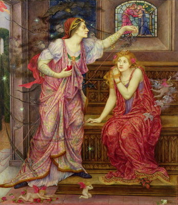 Queen Eleanor and Fair Rosamund Postcards, Greetings Cards, Art Prints, Canvas, Framed Pictures, T-shirts & Wall Art by Evelyn De Morgan