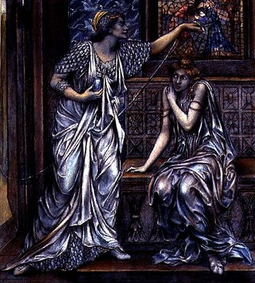 Finished study for Queen Eleanor and Fair Rosamund, c.1900-5 Wall Art & Canvas Prints by Evelyn De Morgan