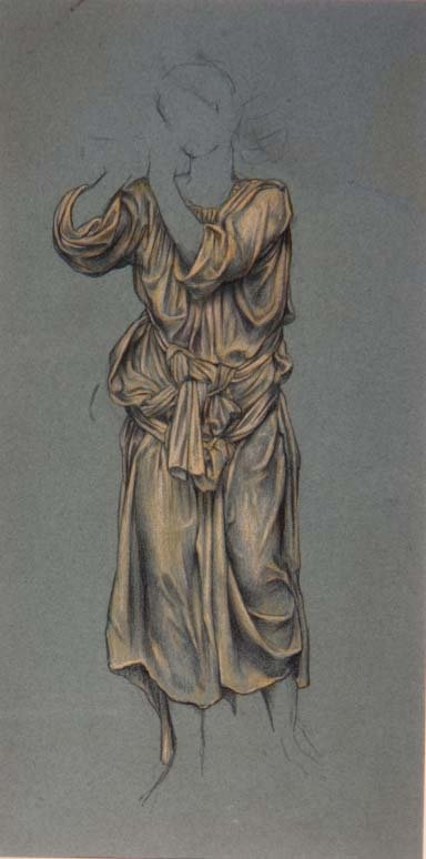 Drapery Study for the figure of eternal youth from 'The Hour Glass', c.1904-5 Fine Art Print by Evelyn De Morgan