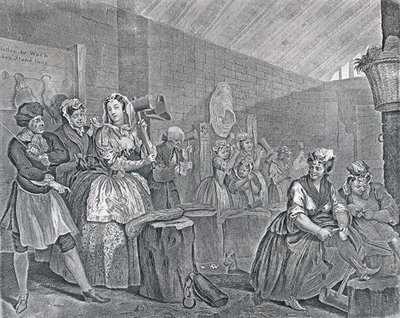A Harlot's Progress, Plate Four: Scene in Bridewell, 1732 Fine Art Print by William Hogarth