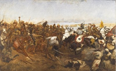 The Charge of the 21st Lancers at the Battle of Omdurman, 1898 Fine Art Print by Richard Caton Woodville