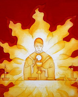 The Presence of Jesus Christ in the Holy Eucharist is like a consuming fire, 2003 Poster Art Print by Elizabeth Wang
