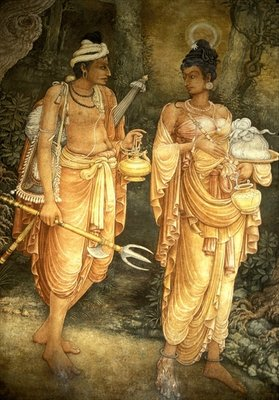Danta and Hemamala transporting the Sacred Tooth Relic Wall Art & Canvas Prints by Sri Lankan School