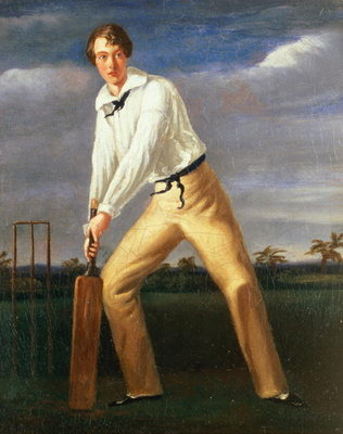 Portrait of a Young Cricketer, c.1816 Fine Art Print by English School