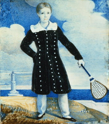 Boy with Badminton Racket Fine Art Print by English School