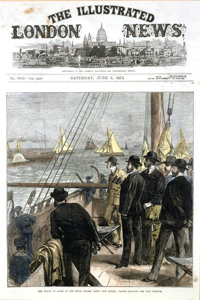 The Prince of Wales at the Royal Thames Yacht Club match, yachts rounding the club steamer, front cover from 'The Illustrated London News', pub. June 6th 1874 Fine Art Print by English School