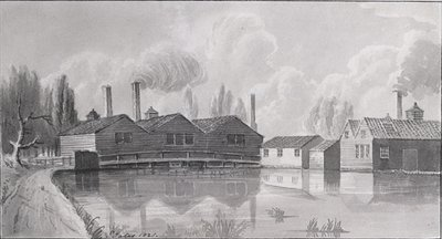 Copper Mills on the Wandle at Garrett, 1825 Fine Art Print by Gideon Yates