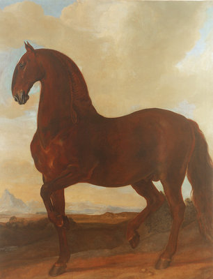 The Bay Stallion at the Eisgruber Stud Fine Art Print by Johann Georg Hamilton