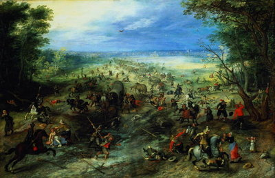 Raid on a caravan of wagons, 1612 Fine Art Print by Jan Brueghel