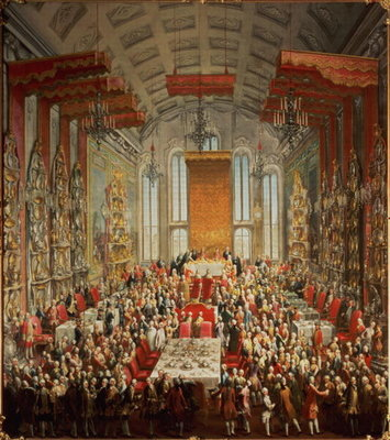 Coronation Banquet of Joseph II in Frankfurt, 1764 Postcards, Greetings Cards, Art Prints, Canvas, Framed Pictures, T-shirts & Wall Art by Martin II Mytens or Meytens